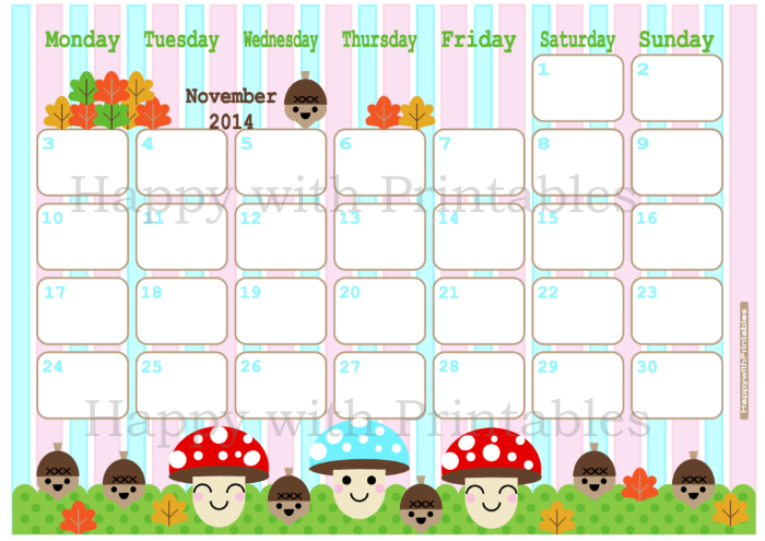 October 2014, calendar, cute calendar, Etsy Shop, Happy with ...