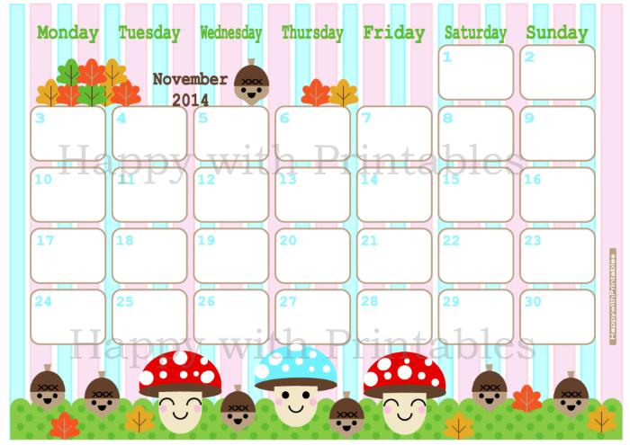 Happy With Printables Calendar : Happywithprintables calendar november printable