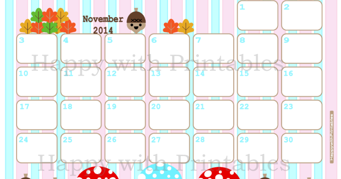 November Calendar Diy : Happywithprintables calendar november printable