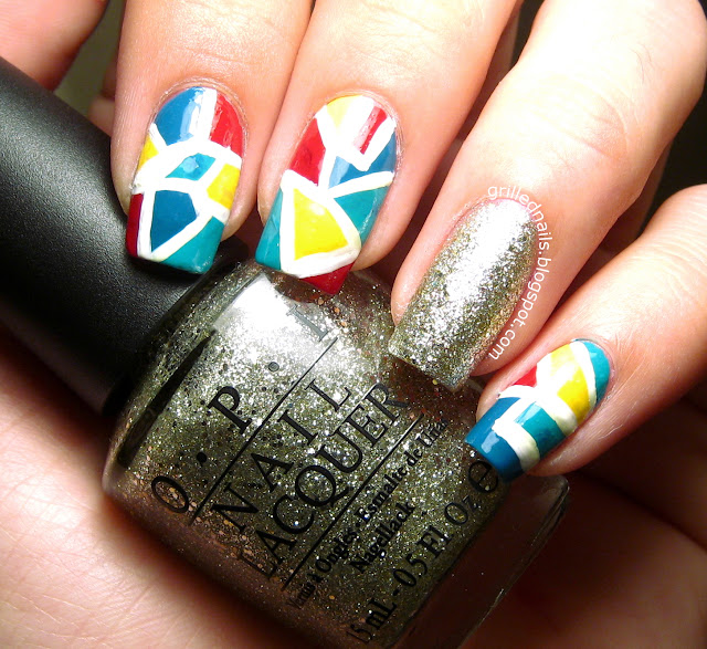 grillednails grilled nails opi glitter nail art geometric nail art mani