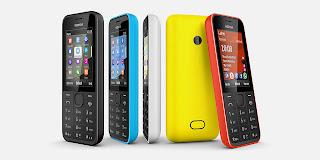 Gambar Nokia 208 warna hitam, biru, putih, kuning dan merah