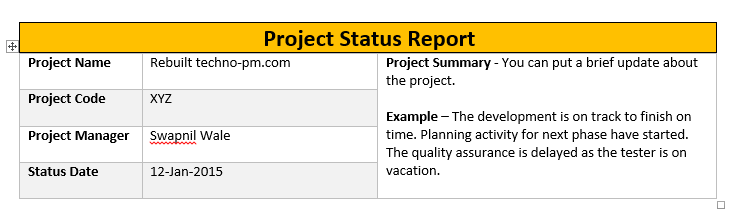 One Page Project Status Report Template A Weekly Status Report – Status Update Template