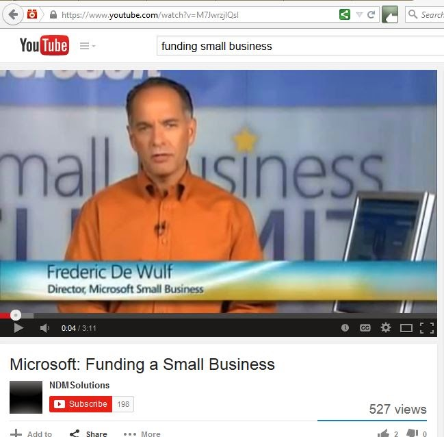 Microsoft's YouTube video on small business funding sources