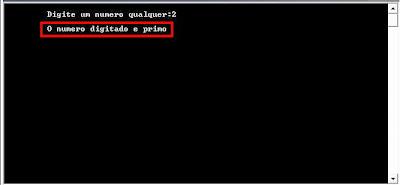 Exemplo de programa para calculo de número primo