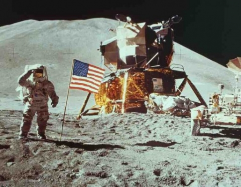 US Flag on the Moon