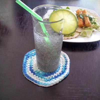 Ginger Lime Chia Water:  Water sweetened with ginger simple syrup, brightened with a touch of lime juice, and extra nutrition added with chia seeds.