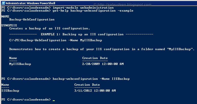 iis backup restore config powershell