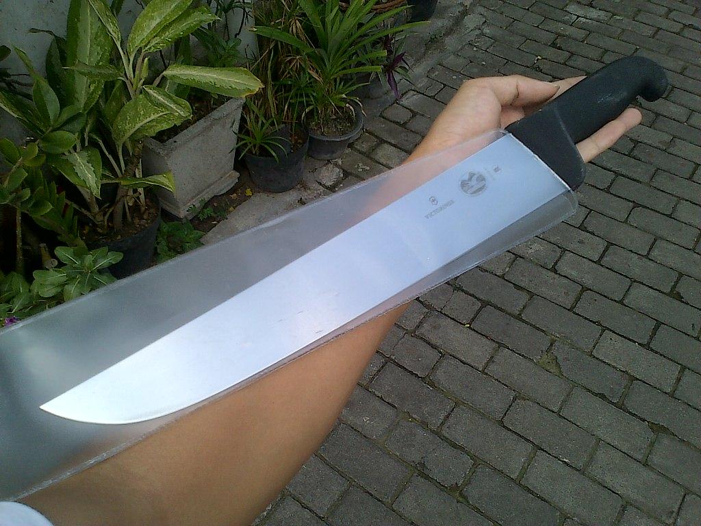 Butcher Knife Pisau Sembelih Victorinox Semh Dan Sisit Kulit Model Bilah Lurus