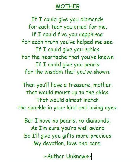 poems for mom from daughter. to his Mommy on the first