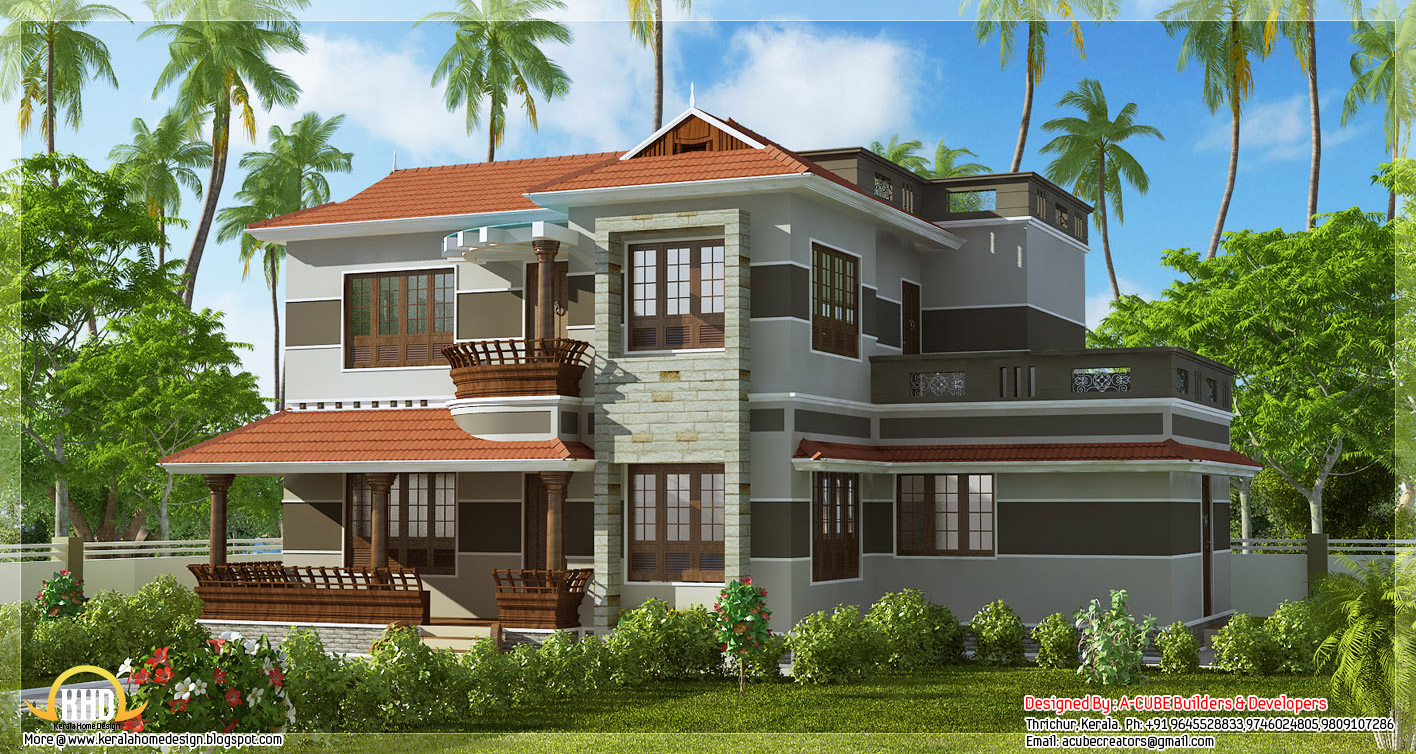 A beautiful variety kerala style home design 2300 for Beautiful house style