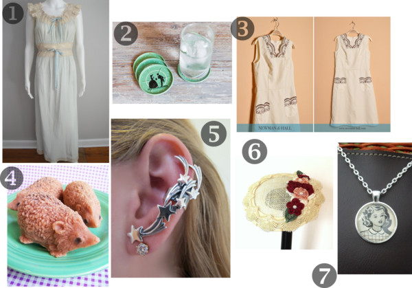 Etsy wishlist, 1930s lingerie, 1930s nightgown, star ear cuff, floral fascinator, hedgehog soap, 1950s green coaster, 1960s white shift mini dress, A Coin For the Well