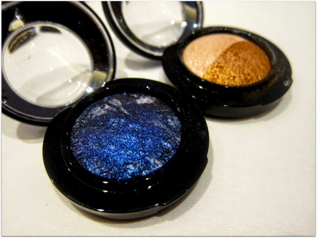 MAC Mineralize eyeshadow Blue Flame and Spiced Metal
