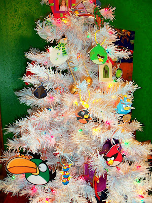 Our DIY paper ANGRY BIRDS Space Christmas Tree Ornaments