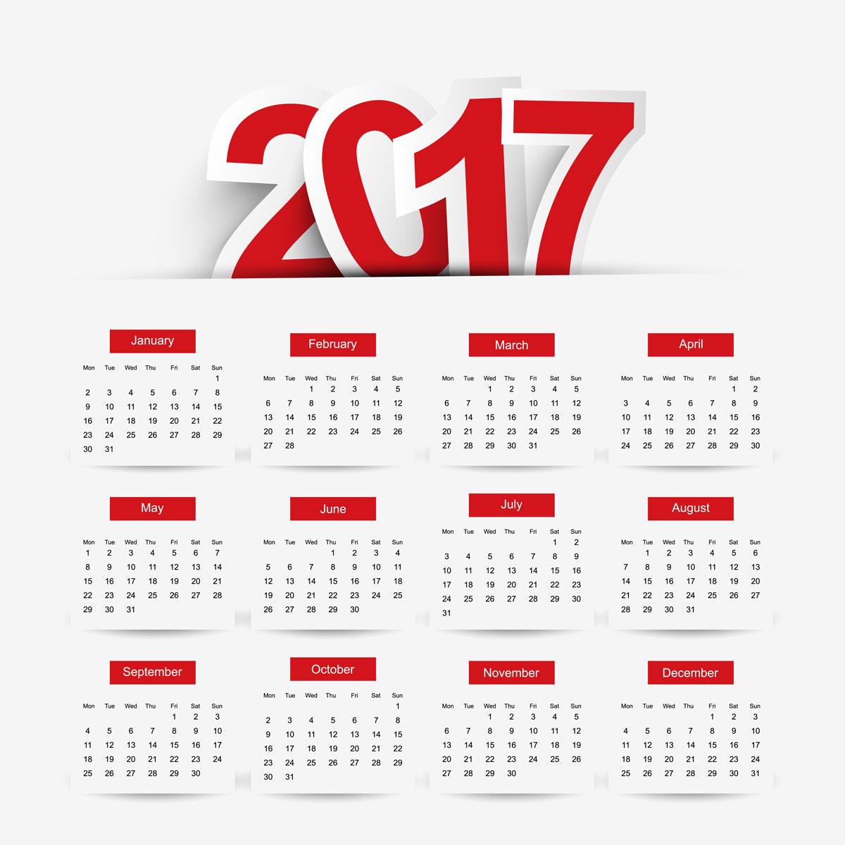 Calendar 2017 Vector Free Download New Template