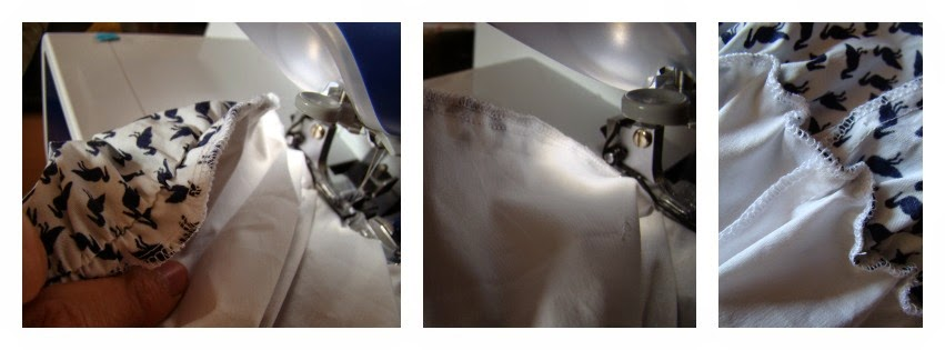 Uniendo el forro a la falda