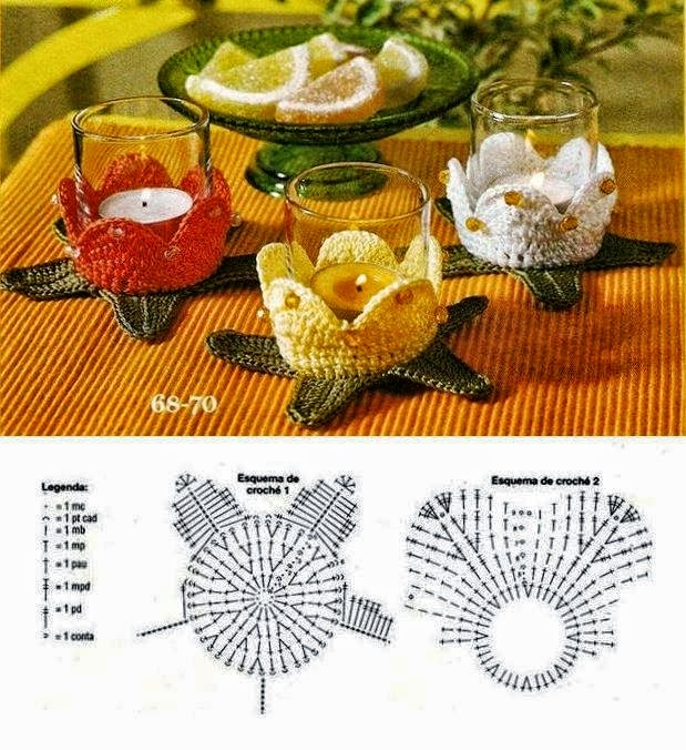 Patrones de centros de mesa realizados con frascos vestidos con flores tejidas con ganchillo,