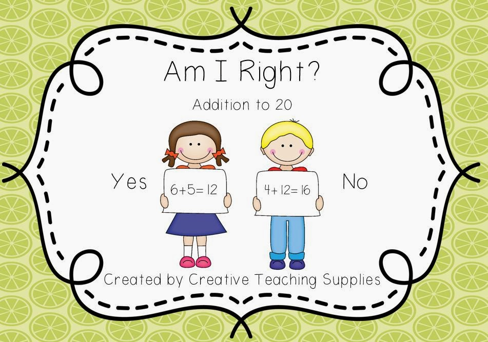 http://www.teacherspayteachers.com/Product/Am-I-Right-Addition-to-20-1053175