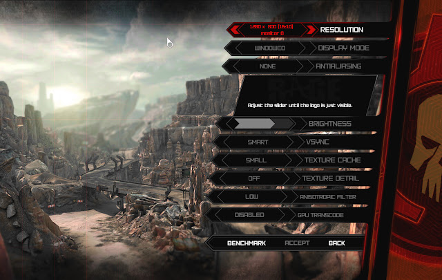 Rage options menu screen