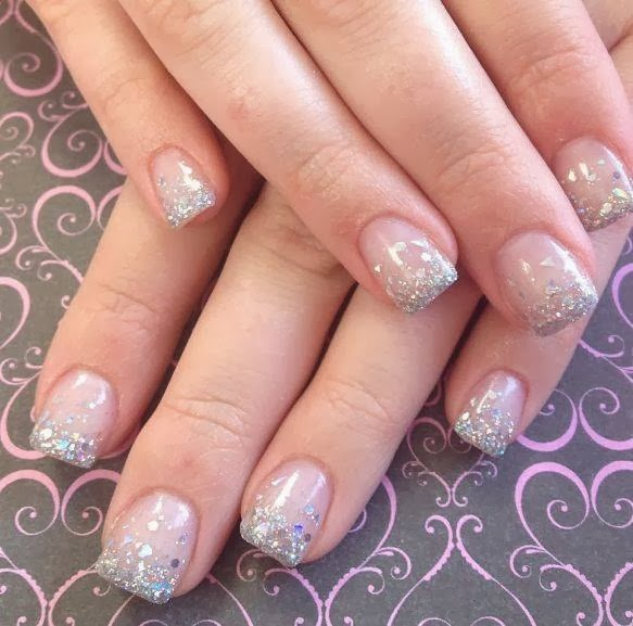 pink cover builder with silver glitz and big dot foil glitz in hazed French gels acrylic nails; LED polish silver haze glitz nail art design