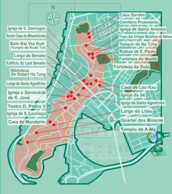 Guía de Macao - Mapa Centro Historico Macao