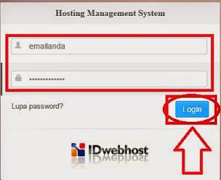 Gambar cara login ke Control panel idwebhost