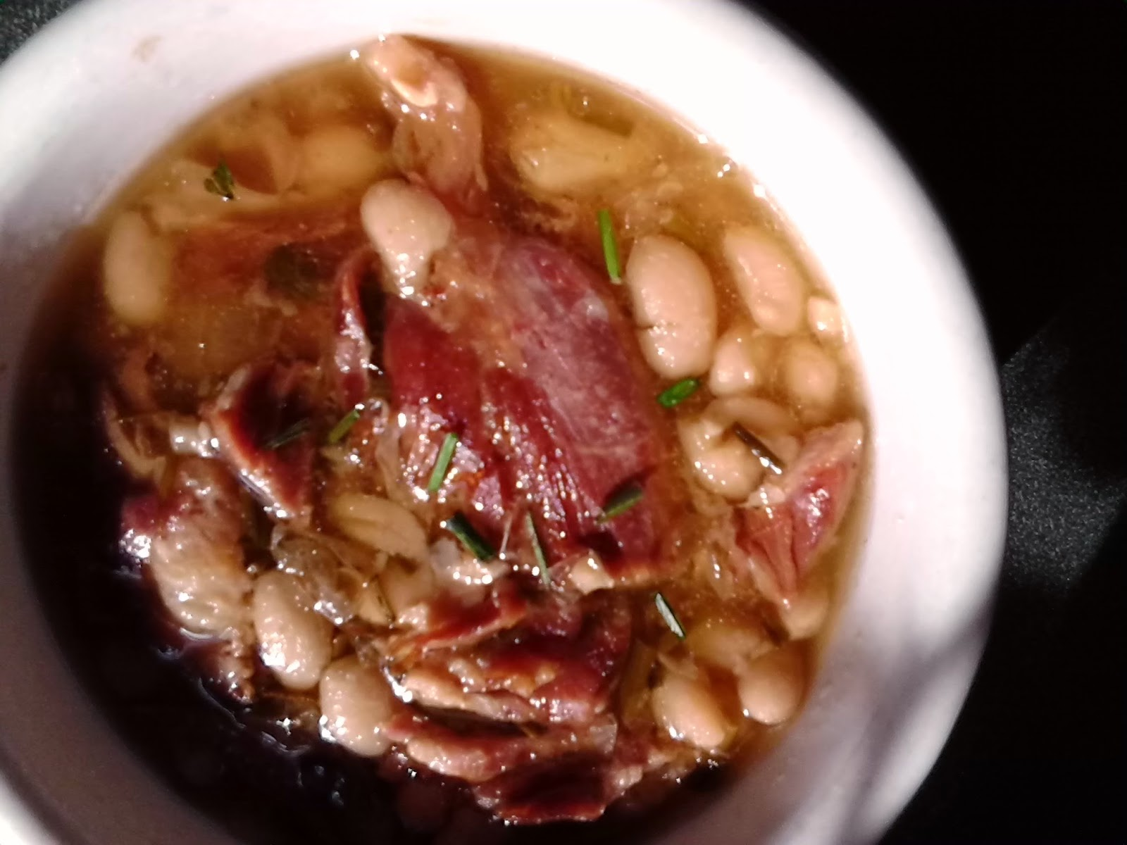 Southern Forager: Slow Cooker Ham and Beans with Wild Garlic Chives