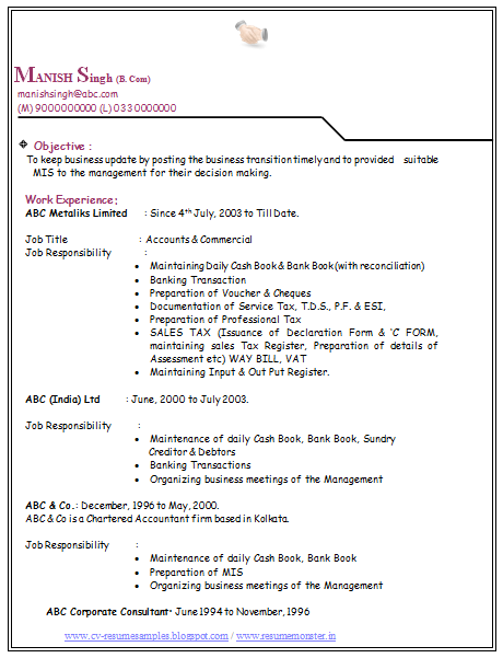 Resume For Bcom Students BCom Experience Resume Format
