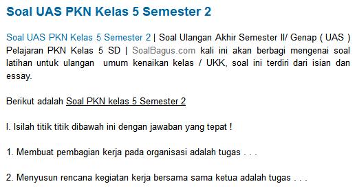 Berikut adalah Soal PKN kelas 5 Semester 2