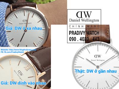 Logo DW trên đồng hồ chính hãng nằm gần sát vào nhau và có một khoảng cách rất nhỏ