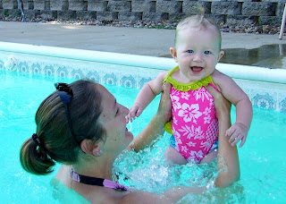 Jen and Addison in the pool