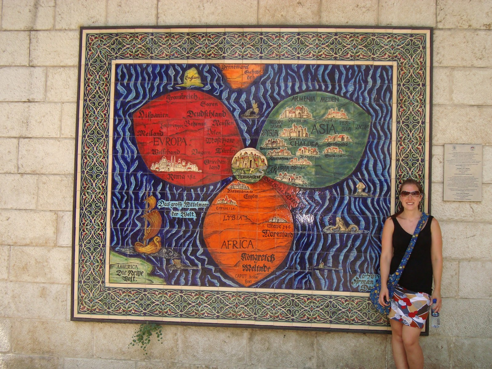 Samara and jeremys israel odyssey 2012 month in jerusalem i was excited when i saw this map and i had to have a picture of it its a map depicting jerusalem as the spiritual center of the world which is what gumiabroncs Images