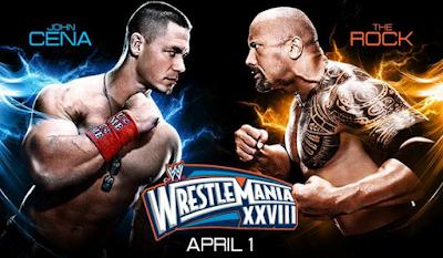 imagen de el combate estelar en wrestlemania 28 de john cena vs the rock
