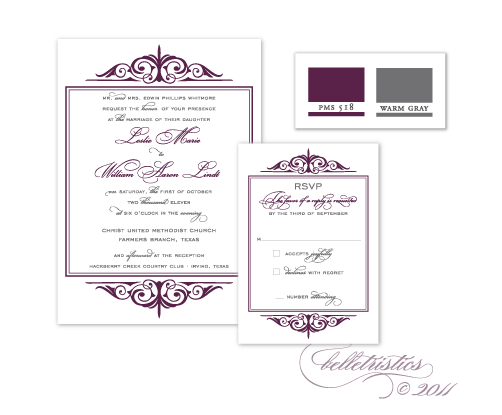 elegant printable flourish wedding invitation purple gray