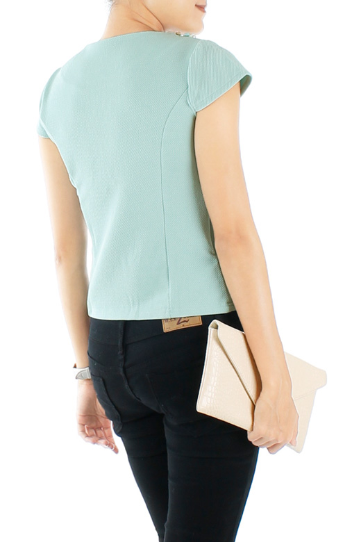 Solitaire & Pearl LUXE Blouse in Powder Blue