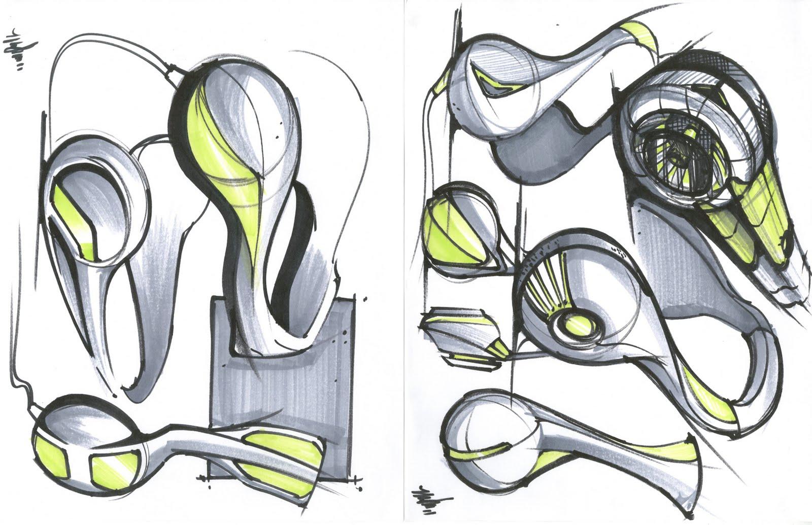 Mikey moore design headphones sketches
