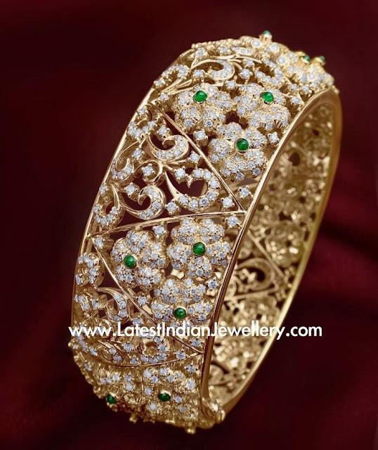 Designer Floral Diamond Bangle