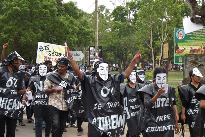 Sri Lanka university students Protest March