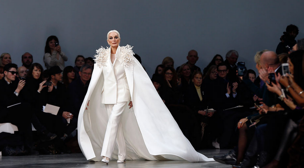 Carmen Dell'Orefice on the catwalk at 81