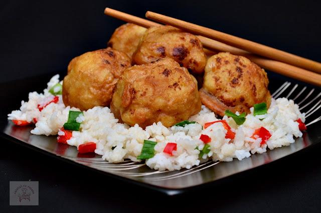 Conopida in stil chinezesc, cu garnitura de orez