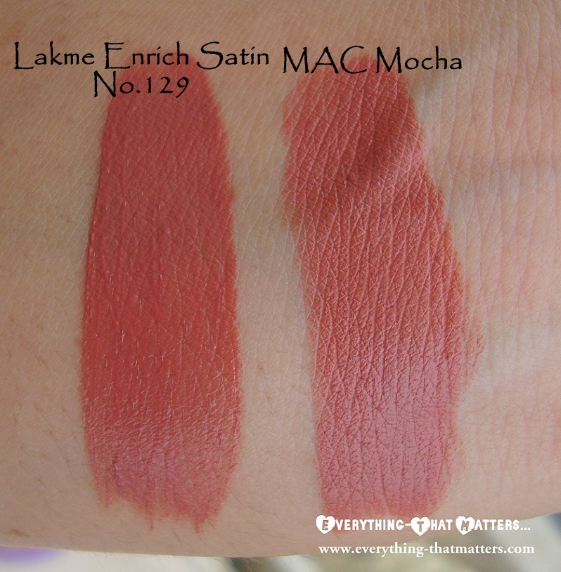 MAC+Mocha+Lipstick+Dupe+Lakme+Enrich+Satin+Lipstick+No.129+Swatch+Review