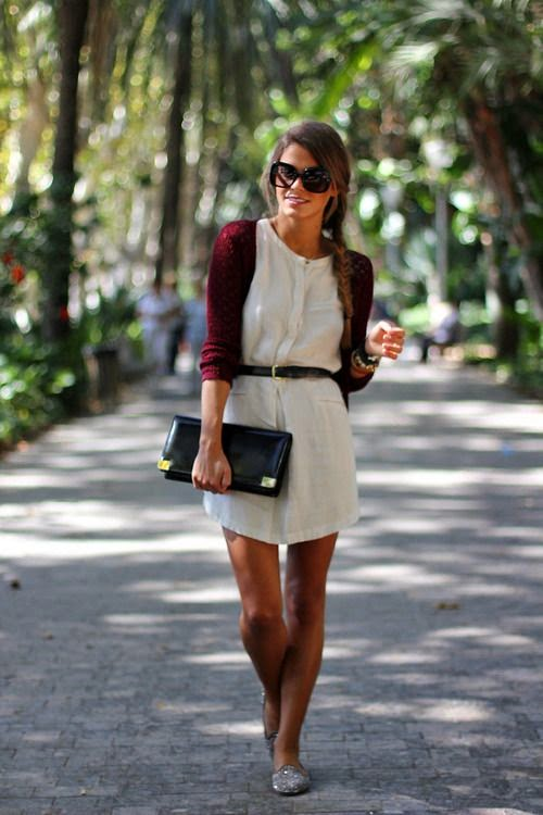 White Dress With Belt And Sweater