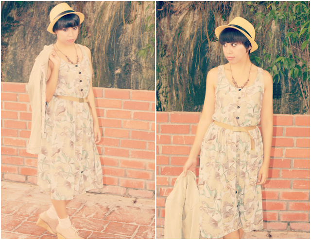 floral cotton dress, nature inspired outfit, beads, necklace, hat, wedges, vicnity