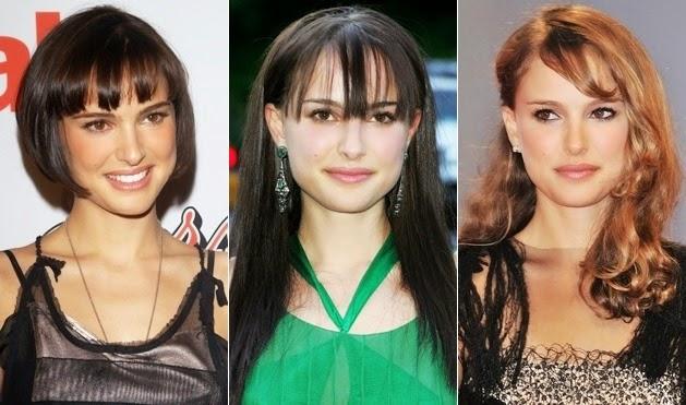 Natalie Portman hairstyles long, short, long bangs 2014