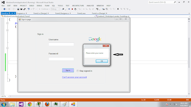 login page in Ce# ,sing in page By waqeeh ul hasan