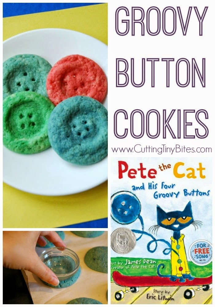 Button Cookies to go along with Pete the Cat and his Four Groovy Buttons. Great book extension activity, snack, and preschool activity!