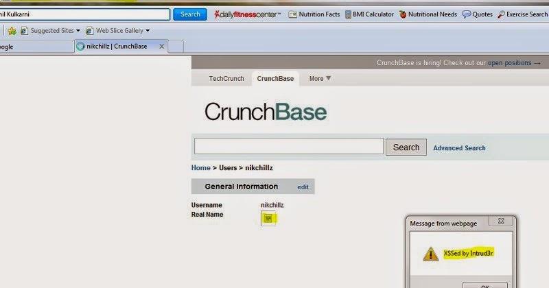 Αντανακλάται ευπάθειας XSS στο Crunchbase ~ Click 4 hack