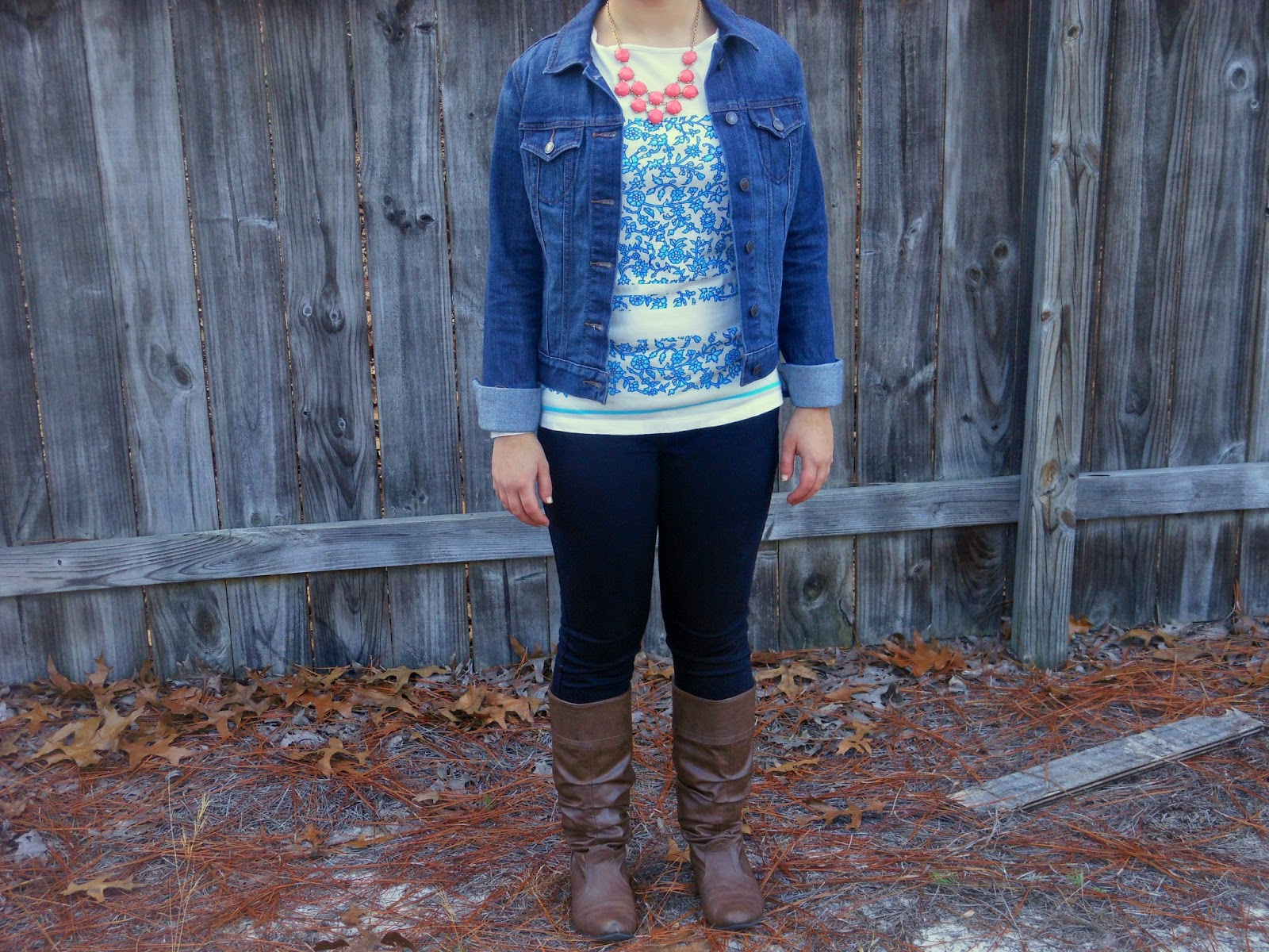 Coral and Bright Blue. Blue patterned top, black skinnies, coral necklace, jean jacket, brown boots