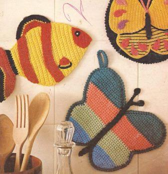 Cogedores en Blanco y Azul a Crochet