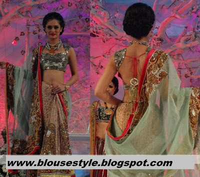 fashion week lehenga style saree