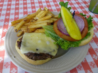 My Braden River Burger with Swiss cheese.